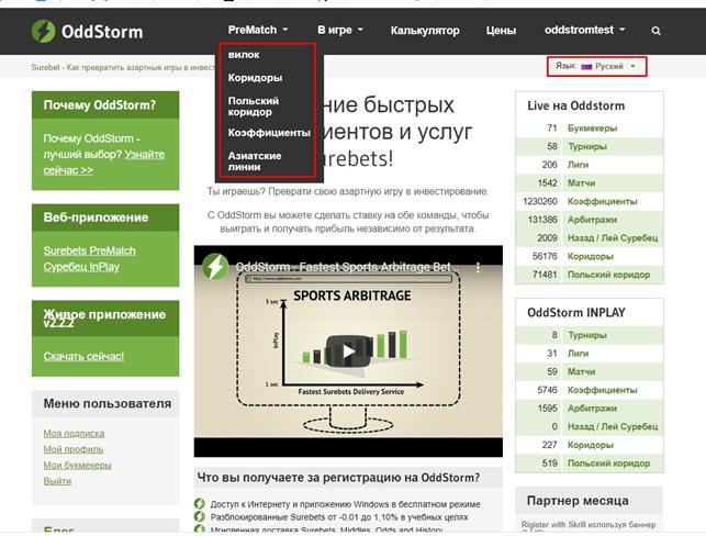 Интерфейс сайта oddstorm